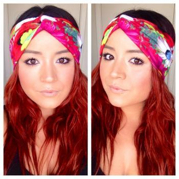 Faux turban in photographic floral